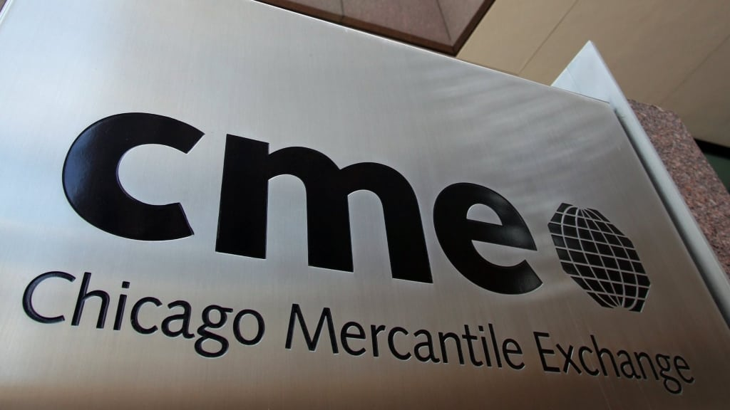 A Chicago Mercantile Exchange sign is seen outside CME Group Inc.'s headquarters in Chicago, Illinois, U.S., on Thursday, May 20, 2010. CME Group is the world's largest futures and options exchange