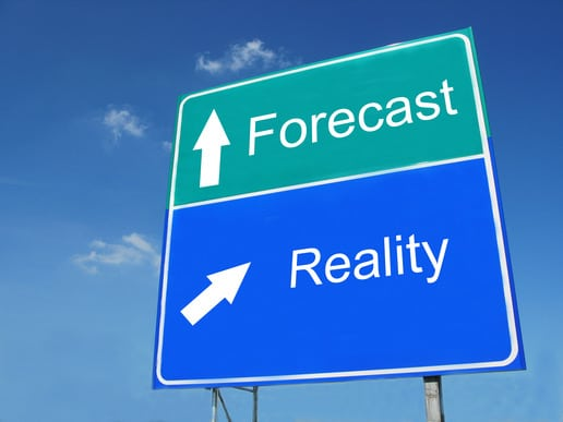 FORECAST -- REALITY road sign