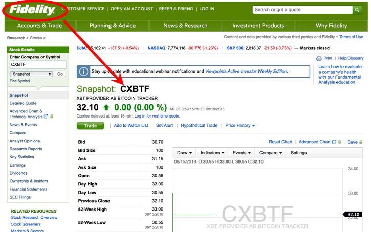 Fidelity теперь предлагает клиентам биткоин-ETN