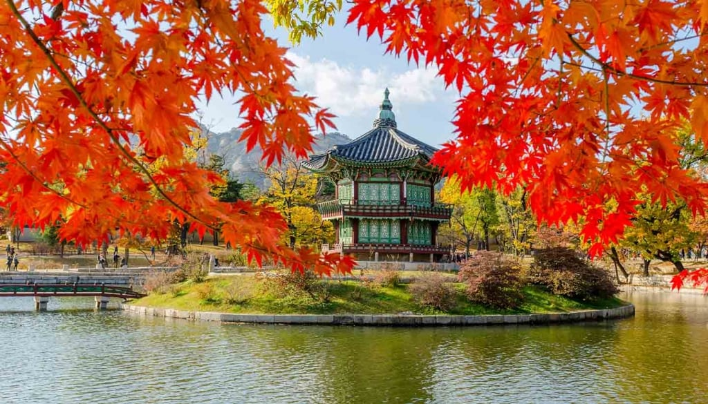 Autumn of Gyeongbokgung Palace in Seoul ,Korea