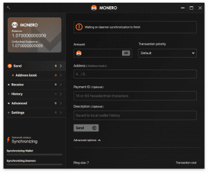 Monero's GUI wallet is synchronizing with a remote node