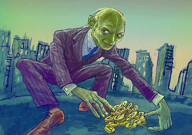 Gollum with bitcoins