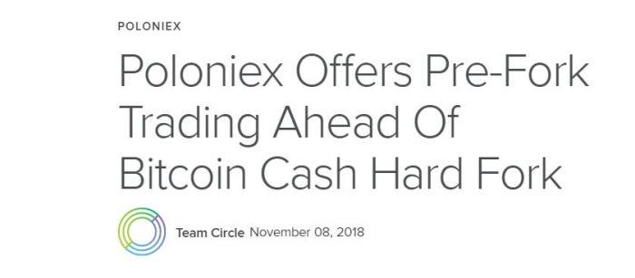 Биржа Poloniex запустила торговлю активами, которые могут появиться после форка Bitcoin Cash