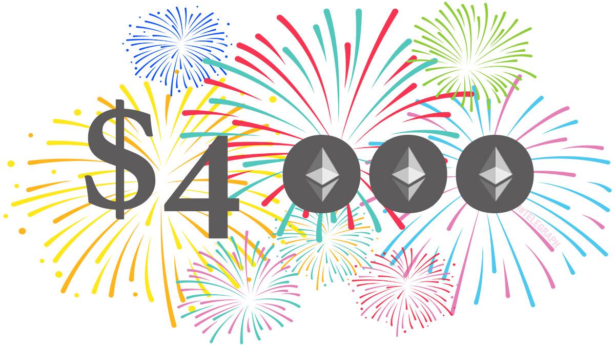 Курс Ethereum достиг 3-месячного максимума и поднялся выше $4000